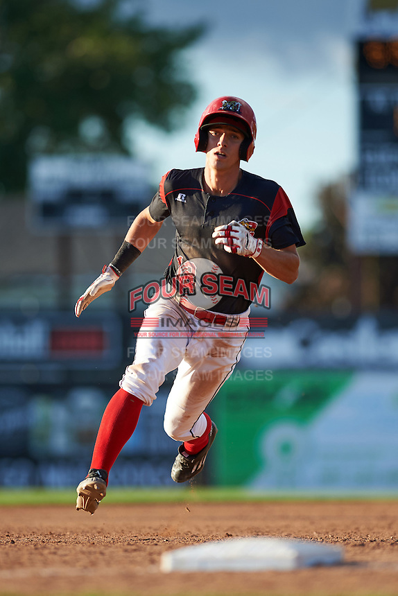 Batavia Muckdogs center fielder Corey Bird (12) running the bases during a game against the West Virginia Black Bears on August 21, 2016 at Dwyer Stadium in Batavia, New York.  West Virginia defeated Batavia 6-5. (Mike Janes/Four Seam Images)