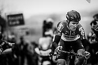 Tiesj Benoot (BEL/Lotto-Soudal) putting in a very impressive Paterberg effort (3rd rider up)<br /> <br /> 61th E3 Harelbeke (1.UWT)<br /> Harelbeke - Harelbeke (206km)