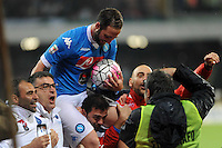 Gonzalo Higuain celebrates after scores his 36th gol , new record in italian Serie A  during the  italian serie a soccer match,between SSC Napoli and Frosinone      at  the San  Paolo   stadium in Naples  Italy , 14 MAY 2016
