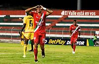 TULUA - COLOMBIA, 16-02-2020: Julian Millan del Cortuluá celebra después de anotar el segundo gol de su equipo partido por la fecha 5 del Torneo BetPlay DIMAYOR I 2020 entre Cortuluá y Bogotá F.C. jugado en el estadio 12 de Octubre de Tuluá. / Julian Millan of Cortulua celebrates after scoring the second goal of his team during match for the date 5 as part of BetPlay DIMAYOR Tournament I 2020 between Cortulua and Bogota F.C. played at 12 de Octubre stadium in Tulua. Photo: VizzorImage / Juan Jose Horta / Cont