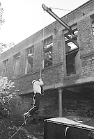 Class is taken out to explore the locality (Health & Safety was not such a worry in those days), Whitworth Comprehensive School, Whitworth, Lancashire.  1970.