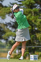 Jane Park (USA) watches her tee shot on 3 during round 3 of the 2018 KPMG Women's PGA Championship, Kemper Lakes Golf Club, at Kildeer, Illinois, USA. 6/30/2018.<br /> Picture: Golffile | Ken Murray<br /> <br /> All photo usage must carry mandatory copyright credit (&copy; Golffile | Ken Murray)