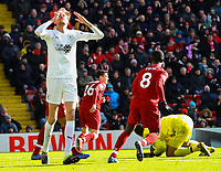 Burnley's Peter Crouch reacts<br /> <br /> Photographer Alex Dodd/CameraSport<br /> <br /> The Premier League - Liverpool v Burnley - Sunday 10th March 2019 - Anfield - Liverpool<br /> <br /> World Copyright © 2019 CameraSport. All rights reserved. 43 Linden Ave. Countesthorpe. Leicester. England. LE8 5PG - Tel: +44 (0) 116 277 4147 - admin@camerasport.com - www.camerasport.com