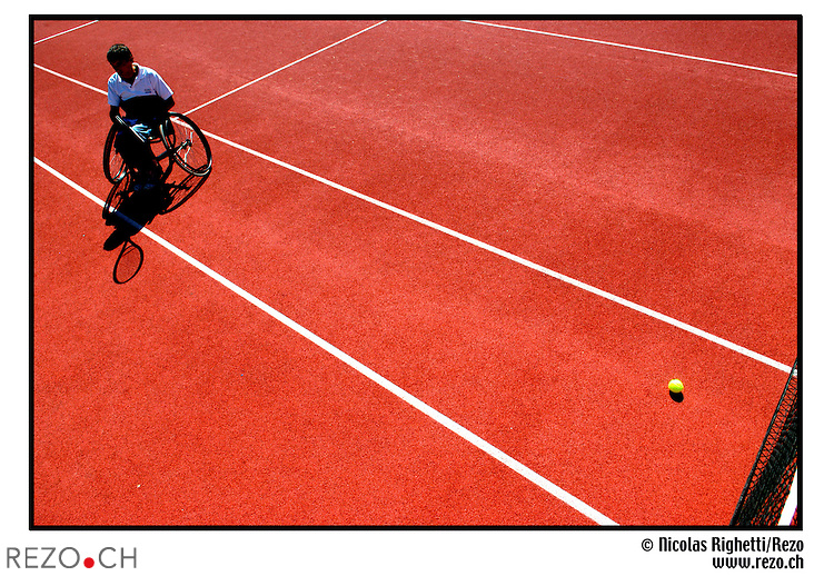 NR01834  / SWISS OPEN tournois international de tennis en fauteuil roulant. ..Geneve, Aout 2005...©Nicolas Righetti/Rezo