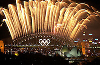 01 OCTOBER 2000 - SYDNEY, AUSTRALIA:<br /> Olympic Closing Ceremony fireworks display over Sydney Harbor and Opera House.