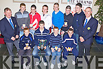 Young Hurlers collect their awards at the North Kerry Hurling Board Player Awards Night held in The Ballyroe Heights Hotel on Friday night. Seated l/r Padraig O'Connor, Chris McCarthy, Brandon Barrett and Michae?l O'Sullivan Standing l/r Paudi Dineen (Treasurer Nth Kerry Hurling Board) Tom McElligot, Paul McGrath, Gearoid Silles, Tommy Barrett, Tadgh Brosnan, Sean Browne and Tommy O'Connor and Tommy O'Connor (P.R.O. Nth Kerry Hurling Board)...................................................................................................................................................................................................................................................................................................................... ............