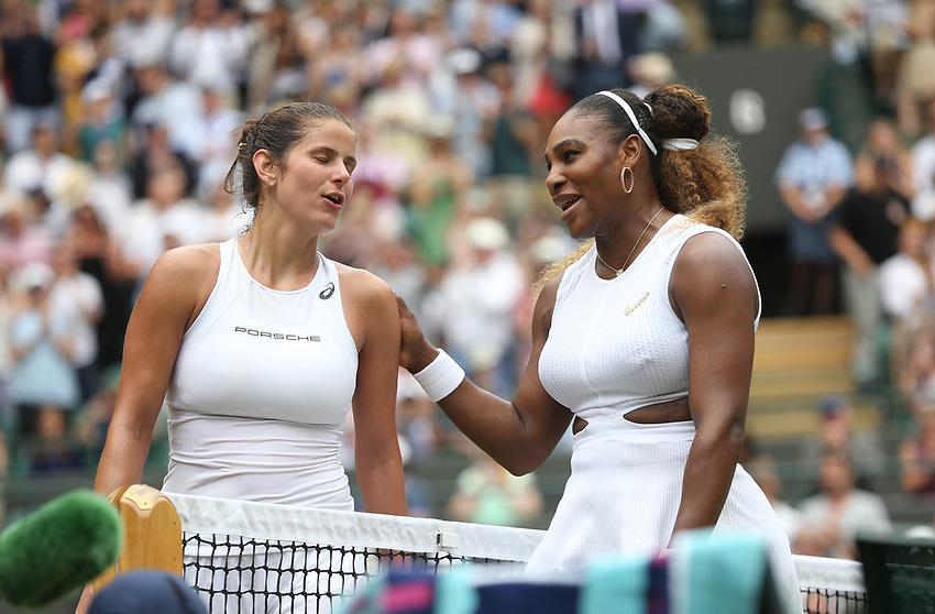 Serena Williams (USA) shakes hands with Julia Goerges (GER) at the end of their game in their Ladies' Singles Third Round match<br /> <br /> Photographer Rob Newell/CameraSport<br /> <br /> Wimbledon Lawn Tennis Championships - Day 6 - Saturday 6th July 2019 -  All England Lawn Tennis and Croquet Club - Wimbledon - London - England<br /> <br /> World Copyright © 2019 CameraSport. All rights reserved. 43 Linden Ave. Countesthorpe. Leicester. England. LE8 5PG - Tel: +44 (0) 116 277 4147 - admin@camerasport.com - www.camerasport.com