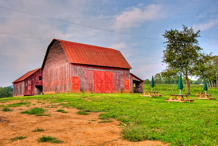 HDR image of the two barns and picnic tables on the grounds of Hume Vineyards.