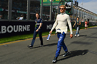 March 26, 2017: Marcus Ericsson (SWE) #9 from the Sauber F1 Team walks back to the pits after the drivers' parade at the 2017 Australian Formula One Grand Prix at Albert Park, Melbourne, Australia. Photo Sydney Low