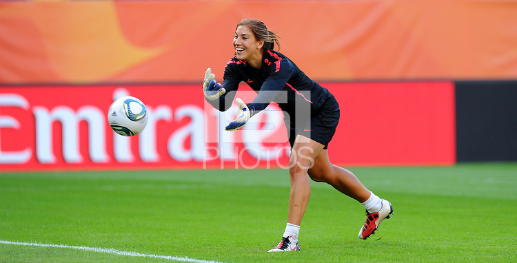 Hope Solo, player of team USA, during a training session at the FIFA Women's World Cup at the FIFA Stadium in Dresden, Germany on June 27th, 2011.
