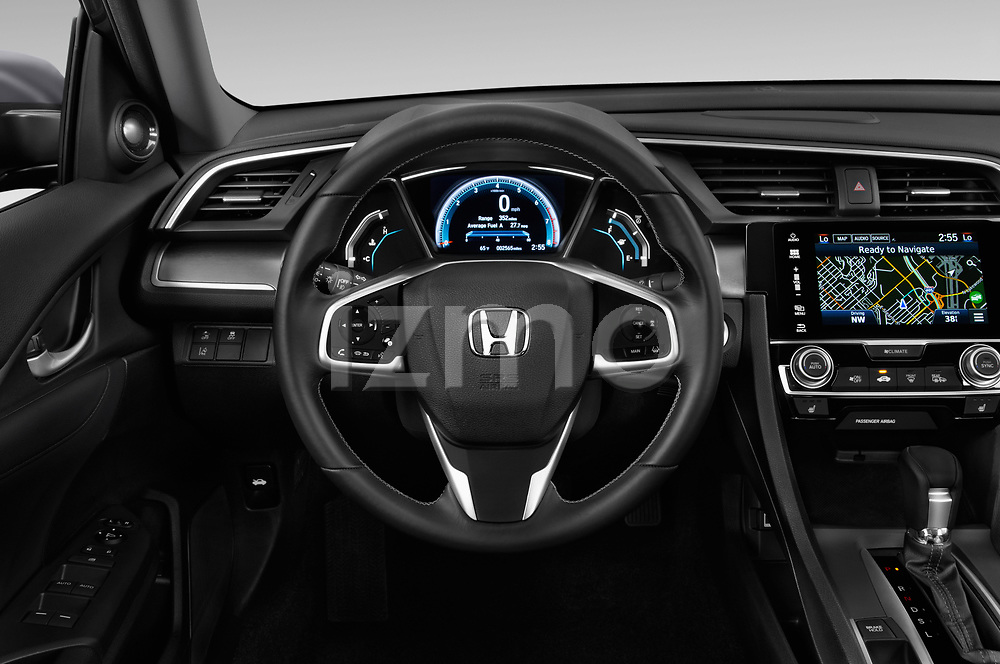 Car pictures of steering wheel view of a 2019 Honda Civic Elegance 4 Door Sedan