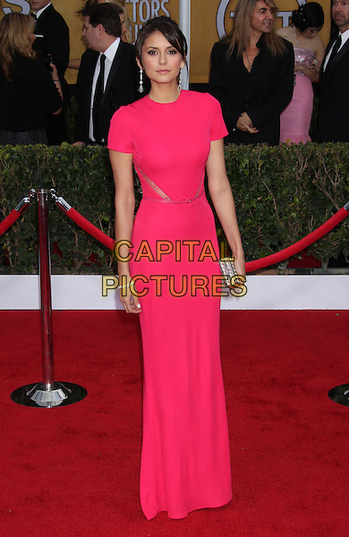 Nina Dobrev.Arrivals at the 19th Annual Screen Actors Guild Awards at the Shrine Auditorium in Los Angeles, California, USA..27th January 2013.SAG SAGs full length dress pink clutch bag  lace panels .CAP/ADM/RE.©Russ Elliot/AdMedia/Capital Pictures.