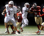(Everett Ma 091914)Tewksbury 3, James Sullivan, finds a to make a long punt return,  during the first quarter of the game, Friday, Sept. 19, 2014, at Everett Stadium. (Jim Michaud Photo) For Saturday