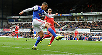 Ipswich Town's Kayden Jackson battles with Nottingham Forest's El Arbi Soudani<br /> <br /> Photographer Hannah Fountain/CameraSport<br /> <br /> The EFL Sky Bet Championship - Ipswich Town v Nottingham Forest - Saturday 16th March 2019 - Portman Road - Ipswich<br /> <br /> World Copyright &copy; 2019 CameraSport. All rights reserved. 43 Linden Ave. Countesthorpe. Leicester. England. LE8 5PG - Tel: +44 (0) 116 277 4147 - admin@camerasport.com - www.camerasport.com