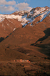Tacheddirt village at 2400 m, the highest berber village of Atlas range.Climbing of the mountain Toubkal (4165 m) with mountaineering skis, highest summit of North Africa. Atlas range. Morocco. Africa