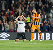 8th September 2017, Pride Park Stadium, Derby, England; EFL Championship football, Derby County versus Hull City; Matej Vydra of Derby County drops to his knees and puts his hands on his head after failing to score his hat trick in the last minutes off the first half