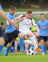 6th June 2014; Galway FC's Gary Shananan with Barry McCabe of UCD. FAI Ford Cup - Round 2, UCD v Galway FC, UCD Bowl, Belfield, Dublin. Picture credit: Tommy Grealy/actionshots.ie.