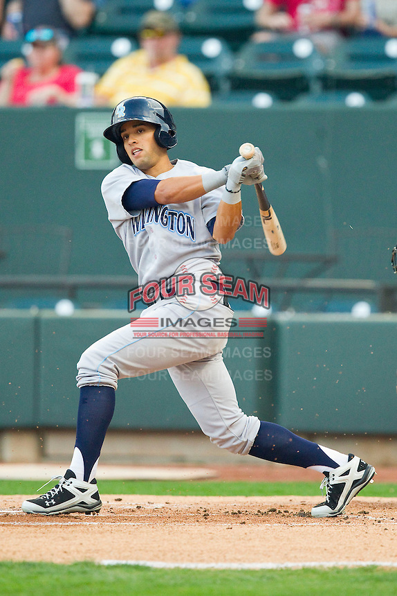 Jack Lopez (11) of the Wilmington Blue Rocks follows through on his swing against the Winston-Salem Dash at BB&T Ballpark on April 18, 2013 in Winston-Salem, North Carolina.  The Dash defeated the Blue Rocks 4-0.  (Brian Westerholt/Four Seam Images)