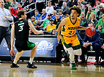 SIOUX FALLS, SD - MARCH 10: Jarius Cook #21 of the North Dakota State Bison drives baseline past Billy Brown #3 of the North Dakota Fighting Hawks during the men's championship game at the 2020 Summit League Basketball Tournament in Sioux Falls, SD. (Photo by Dave Eggen/Inertia)
