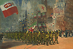 The Bersaglieri, by George Benjamin Luks, 1918, American painting, oil on canvas. <br /> The Bersaglieri, a historic rifle regiment in the Italian Army, leading the Columbus Day parade in New York City, Oct