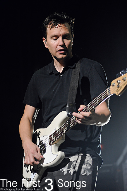 Mark Hoppus of Blink-182 performs at Riverbend Music Center in Cincinnati, Ohio on August 21, 2011.