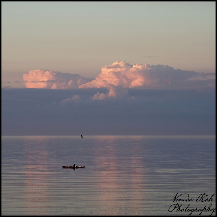 Canoeist on the sea at sunset with pink clouds