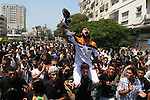 Fatah movement supporters shout as they take part in a rally following Friday noon prayers in Gaza City. Security forces from the ruling Hamas detained four journalists, including an AFP photographer as it broke up a mass rally for the rival Fatah movement. Hamas took control of the Gaza Strip in mid-June, overrunning pro-Fatah security forces loyal to president Mahmud Abbas after a week of street clashes that killed more than 100 people. Since its bloody takeover, the Islamic Resistance Movement (Hamas) has sought to break up pro-Fatah rallies and to prevent journalists from filming such gatherings.