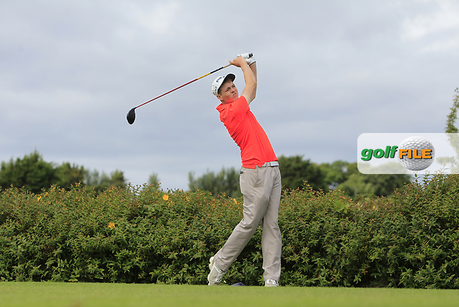 Matthew Grehan (Tullamore) on the 18th tee during R1 of the 2016 Connacht U18 Boys Open, played at Galway Golf Club, Galway, Galway, Ireland. 05/07/2016. <br /> Picture: Thos Caffrey | Golffile<br /> <br /> All photos usage must carry mandatory copyright credit   (&copy; Golffile | Thos Caffrey)