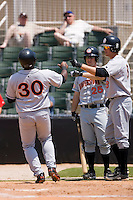 Michael Burgess (30) of the Hagerstown Suns is greeted at home plate by teammates Stephen King (8) and Sean Rooney (25) after scoring a run versus the Kannapolis Intimidators at Fieldcrest Cannon Stadium in Kannapolis, NC, Monday May 26, 2008.