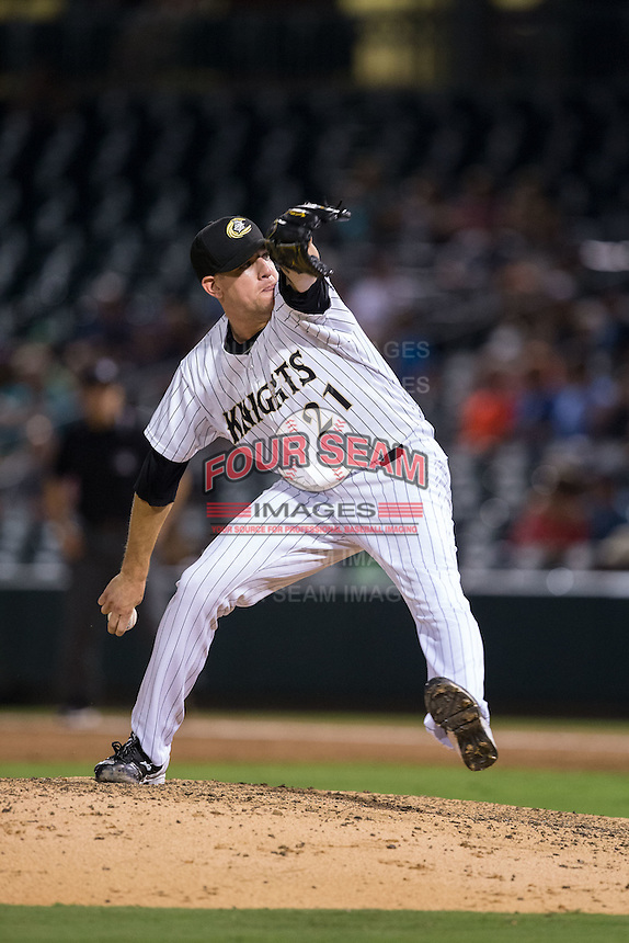 Charlotte Knights relief pitcher Brad Goldberg (21) in action against the Pawtucket Red Sox at BB&T BallPark on July 6, 2016 in Charlotte, North Carolina.  The Knights defeated the Red Sox 8-6.  (Brian Westerholt/Four Seam Images)