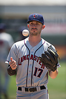 Lancaster JetHawks pitcher Kenny Oakley (17) warms up before a California League game against the San Jose Giants at San Jose Municipal Stadium on May 13, 2018 in San Jose, California. San Jose defeated Lancaster 3-0. (Zachary Lucy/Four Seam Images)