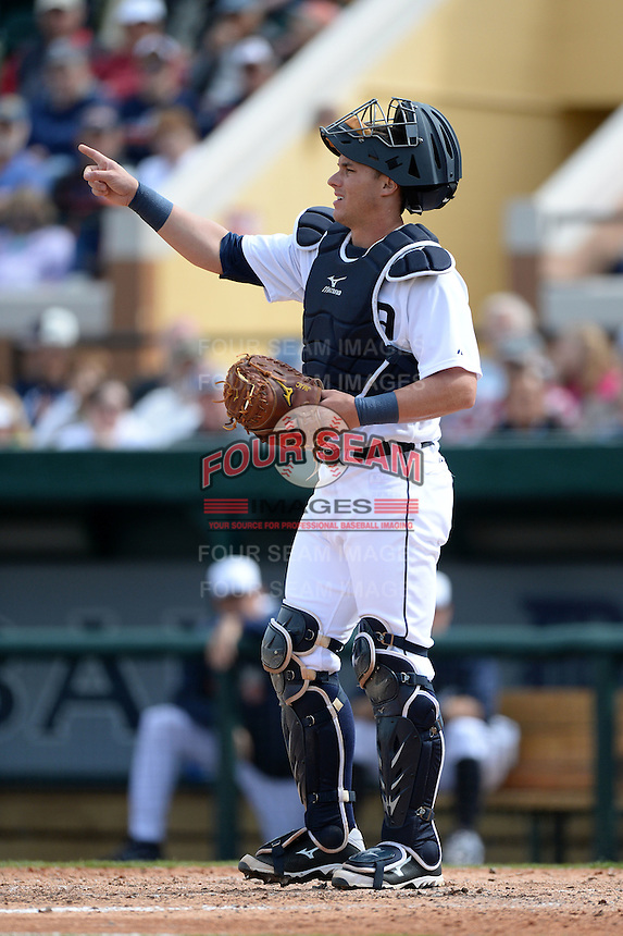 Detroit Tigers catcher James McCann (71) during a spring training game against the Atlanta Braves on February 27, 2014 at Joker Marchant Stadium in Lakeland, Florida.  Detroit defeated Atlanta 5-2.  (Mike Janes/Four Seam Images)