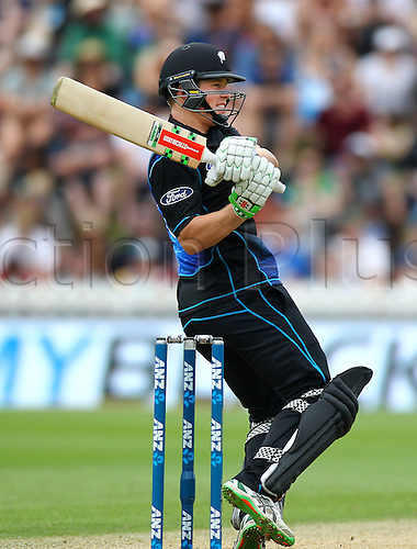 25.01.2016. Basin Reserve, Wellington, New Zealand. New Zealand versus Pakistan One Day International Cricket. Henry Nicholls bats during the 1st ODI cricket match between the New Zealand Black Caps and Pakistan