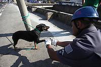 ATENÇÃO EDITOR: FOTO EMBARGADA PARA VEÍCULOS INTERNACIONAIS. SAO PAULO, SP, 05/09/2012, RESGATE CÃO RIO. Um cão foi resgatado do Rio Tamanduatei na mnhã dessa Quarta feira nas proximidades da Estação Armenia do Metro. Luiz Guarnieri/ Brazil Photo Press
