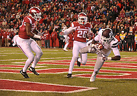 NWA Democrat-Gazette/MICHAEL WOODS • Mississippi State receiver Cedrick Jiles scores a touchdown   in the 2nd quarter of Saturday nights game at Razorback Stadium November 21, 2015.