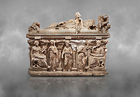 Roman relief sculpted sarcophagus of Domitias Julianus and Domita Philiska depicted reclining on the lid, 2nd century AD, Perge. Antalya Archaeology Museum, Turkey.<br /> <br /> it is from the group of tombs classified as. &quot;Columned Sarcophagi of Asia Minor&rdquo;. <br /> The lid of the sarcophagus is sculpted into the form of a &ldquo;Kline&rdquo; style Roman couch on which lie Julianus &amp;  Philiska. This type of Sarcophagus is also known as a Sydemara Type of Tomb.