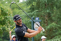 Dustin Johnson (USA) watches his tee shot on 11 during Sunday's final round of the PGA Championship at the Quail Hollow Club in Charlotte, North Carolina. 8/13/2017.<br /> Picture: Golffile | Ken Murray<br /> <br /> <br /> All photo usage must carry mandatory copyright credit (&copy; Golffile | Ken Murray)