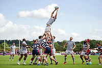 Luke Charteris of Bath Rugby wins the ball at a lineout. Pre-season friendly match, between Bristol Rugby and Bath Rugby on August 12, 2017 at the Cribbs Causeway Ground in Bristol, England. Photo by: Patrick Khachfe / Onside Images