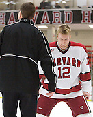 Colin Moore (Harvard - 12) - The Harvard University Crimson defeated the visiting Clarkson University Golden Knights 3-2 on Harvard's senior night on Saturday, February 25, 2012, at Bright Hockey Center in Cambridge, Massachusetts.