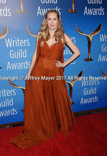 BEVERLY HILLS, CA - FEBRUARY 19: Screenwriter Allison Schroeder attends the 2017 Writers Guild Awards L.A. Ceremony at The Beverly Hilton Hotel on February 19, 2017 in Beverly Hills, California.