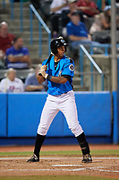 Hudson Valley Renegades third baseman Kaleo Johnson (27) at bat during a game against the Tri-City ValleyCats on August 24, 2018 at Dutchess Stadium in Wappingers Falls, New York.  Hudson Valley defeated Tri-City 4-0.  (Mike Janes/Four Seam Images)