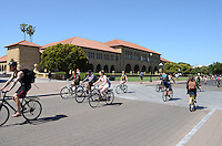 Students at Stanford University, Stanford, California, USA, find bicycles an efficient way to move around the extensive campus. 201305022341<br /> <br /> Copyright Image from Victor Patterson, 54 Dorchester Park, Belfast, UK, BT9 6RJ<br /> <br /> Tel: +44 28 9066 1296<br /> Mob: +44 7802 353836<br /> Voicemail +44 20 8816 7153<br /> Skype: victorpattersonbelfast<br /> Email: victorpatterson@me.com<br /> Email: victorpatterson@ireland.com (back-up)<br /> <br /> IMPORTANT: If you wish to use this image or any other of my images please go to www.victorpatterson.com and click on the Terms & Conditions. Then contact me by email or phone with the reference number(s) of the image(s) concerned.