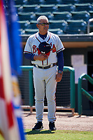 Mississippi Braves manager Luis Salazar (4) stands for the national anthem during a game against the Montgomery Biscuits on April 25, 2017 at Montgomery Riverwalk Stadium in Montgomery, Alabama.  Mississippi defeated Montgomery 3-2.  (Mike Janes/Four Seam Images)