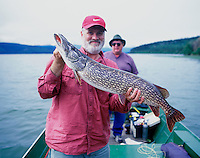 "Fly fisherman with 37"" Northern Pike just before releasing it. Lake George, Alaska"