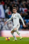 Luka Modric of Real Madrid in action during the La Liga 2018-19 match between Real Madrid and Rayo Vallencano at Estadio Santiago Bernabeu on December 15 2018 in Madrid, Spain. Photo by Diego Souto / Power Sport Images