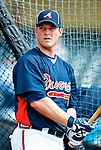 13 March 2010: Atlanta Braves' catcher Clint Sammons awaits his turn in the batting cage prior to a Spring Training game against the Toronto Blue Jays at Champion Stadium in the ESPN Wide World of Sports Complex in Orlando, Florida. The Blue Jays shut out the Braves 3-0 in Grapefruit League action. Mandatory Credit: Ed Wolfstein Photo