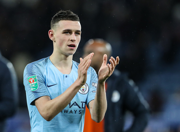 Manchester City 's Phil Foden applauds the fans at the end of the match<br /> <br /> Photographer Andrew Kearns/CameraSport<br /> <br /> English League Cup - Carabao Cup Quarter Final - Leicester City v Manchester City - Tuesday 18th December 2018 - King Power Stadium - Leicester<br />  <br /> World Copyright © 2018 CameraSport. All rights reserved. 43 Linden Ave. Countesthorpe. Leicester. England. LE8 5PG - Tel: +44 (0) 116 277 4147 - admin@camerasport.com - www.camerasport.com
