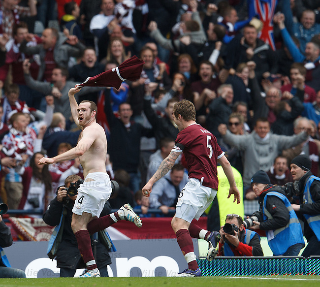Craig Beattie celebrates his winning goal to the Hearts fans