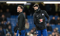 Alvaro Morata (right) enjoys pre match with Danny Drinkwater of Chelsea during the Premier League match between Chelsea and West Bromwich Albion at Stamford Bridge, London, England on 12 February 2018. Photo by Andy Rowland.