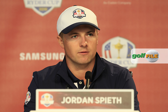 Jordan Speith speaking to the media ahead of the Ryder Cup, Hazeltine national Golf Club, Chaska, Minnesota, USA.  27/09/2016<br /> Picture: Golffile | Fran Caffrey<br /> <br /> <br /> All photo usage must carry mandatory copyright credit (&copy; Golffile | Fran Caffrey)